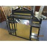 """A Victorian aesthetic style ebonized overmantle mirror, 45"""" x 42"""""""