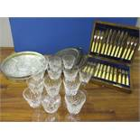 Glassware and silver plated to include mixed pedestal glasses, an entree dish, a set of Harrods
