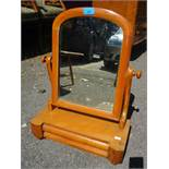 """A Victorian satinwood dressing table swing mirror having cushion moulded drawer 22""""h x 15 1/2""""w"""