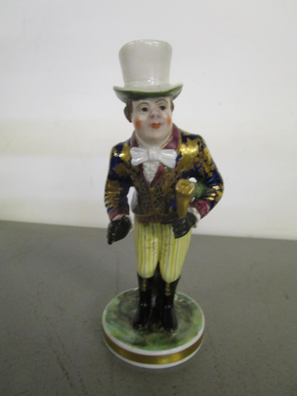 "Lot 136 - A Stevenson and Hancock Derby porcelain figurine of John Liston as Paul Pry, 5 1/2"" h, marks to base"