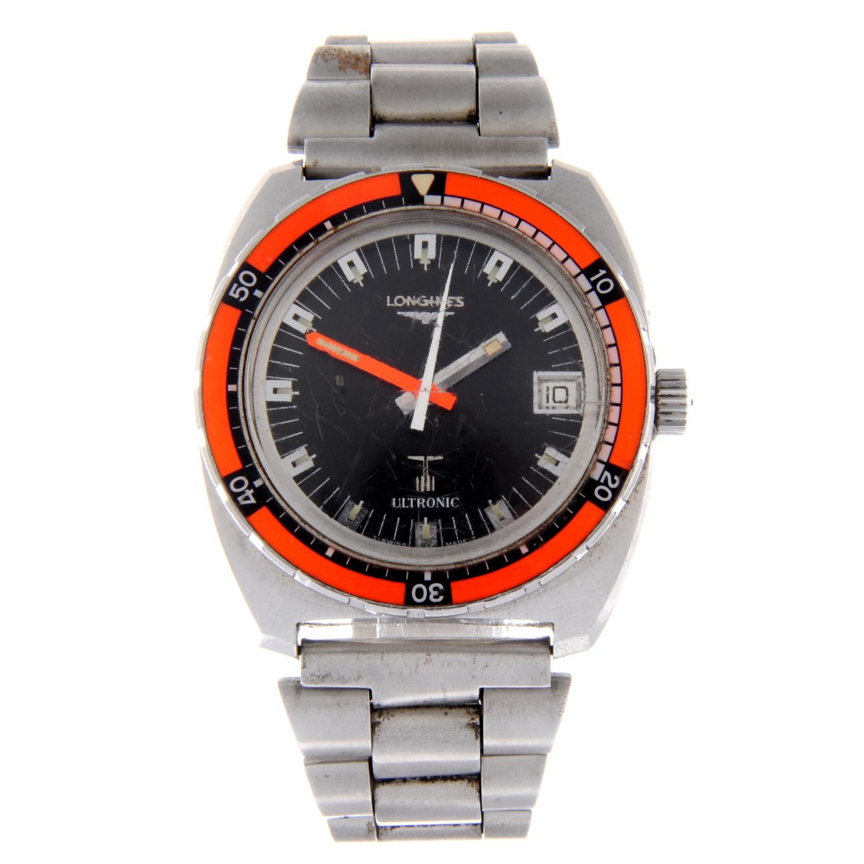 Lot 59 - LONGINES - a gentleman's Ultronic Diver's bracelet watch.