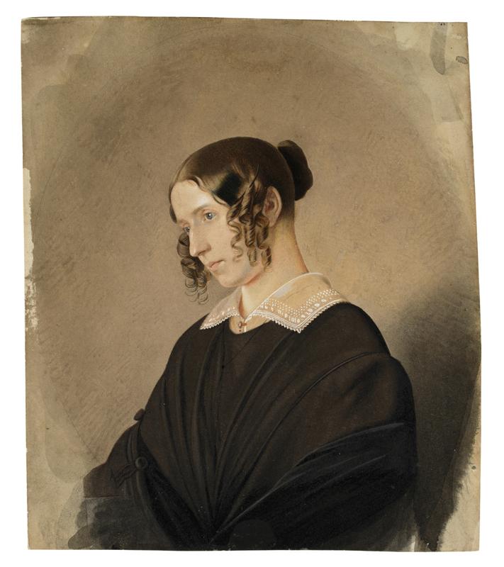 Lot 126 - Dresden, um 1830 ()PORTRAIT EINER JUNGEN FRAU (LUISA STEIN). Aquarell und Deckweiß auf leichtem