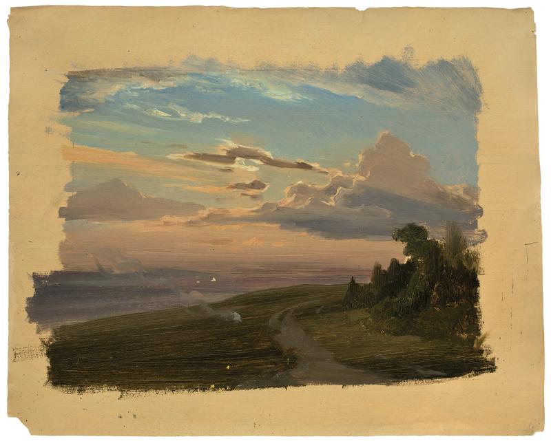 Lot 144 - Carl Hummel (1821 – Weimar – 1907)LANDSCHAFT BEI WEIMAR MIT KARTOFFELFEUER (STUDIE). Öl auf Papier.
