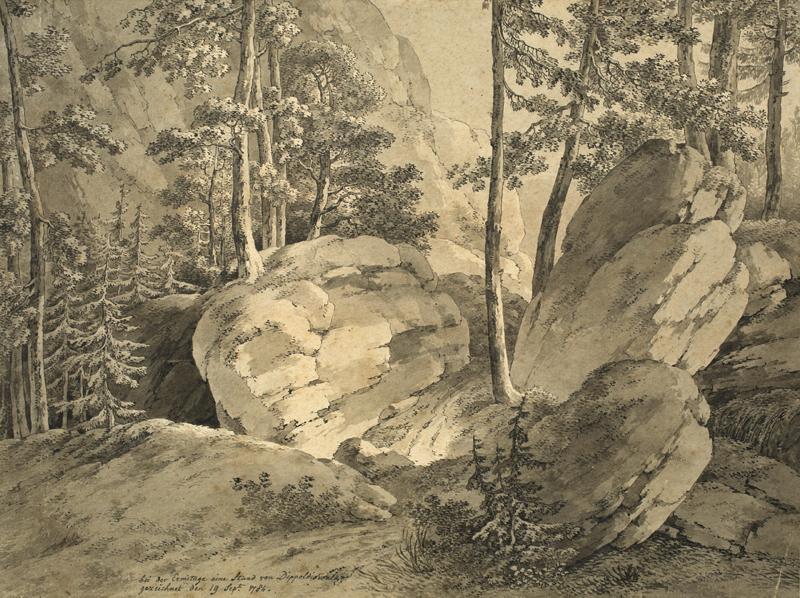 """Lot 101 - Adrian Zingg (St. Gallen 1734 – 1816 Leipzig)""""BEI DER ERMITAGE EINE STUND VON DIPPOLDISWALDE""""."""