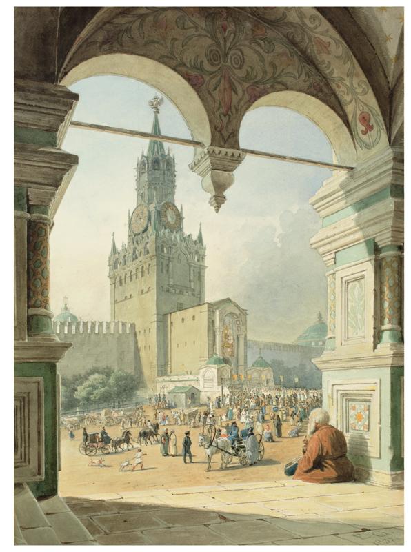 Lot 121 - Eduard Gaertner (Berlin 1801 – 1877 Zechlin)  DIE HEILIGE PFORTE IN MOSKAU. 1837  Aquarell auf