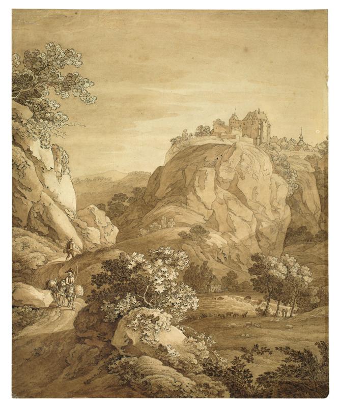 Lot 138 - Dresden, um 1820 ()SCHLOSS WOLKENSTEIN. Feder in Schwarz und Pinsel in Braun auf Papier, auf