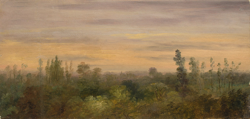 Lot 107 - Carl Gustav Carus (Leipzig 1789 – 1869 Dresden)  BLICK ÜBER DEN WALDRAND. 1840er/50er Jahre  Öl