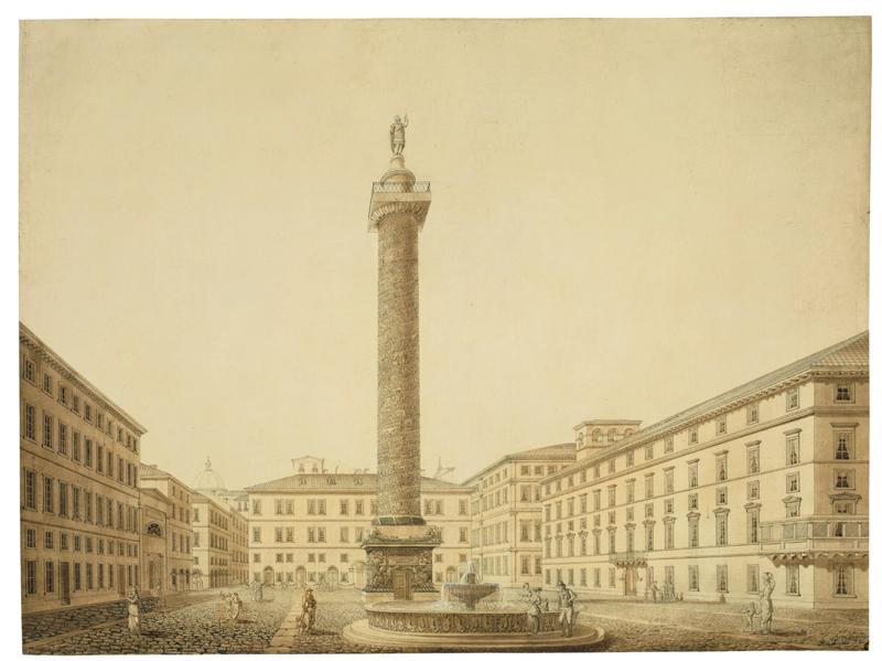 Lot 122 - Friedrich Arnold (Karlsruhe 1786 – 1854 Karlsruhe(?))IDEALANSICHT DER PIAZZA COLONNA, ROM.
