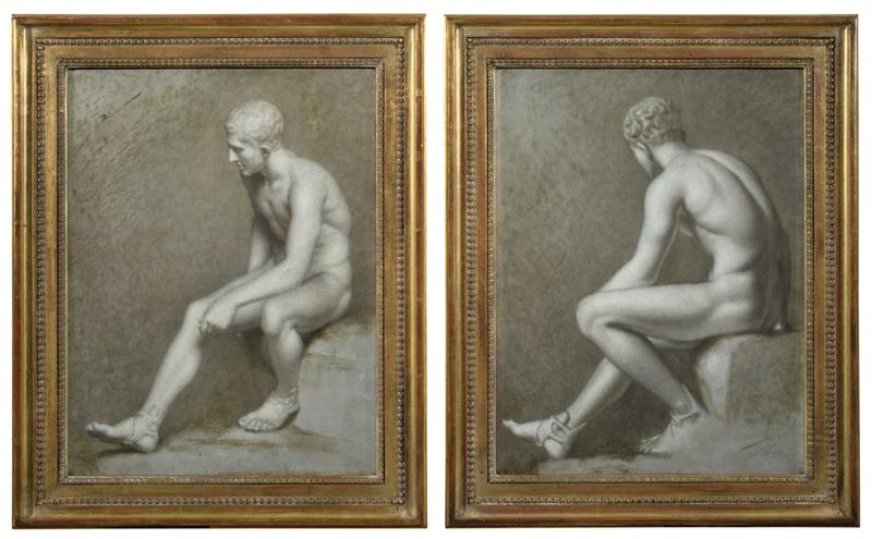 Lot 117 - Dänisch, um 1810 ()  ZWEI MÄNNERAKTE (AKADEMIESTUDIEN).   Jeweils Öl auf Zink.  41,2x31,4cm