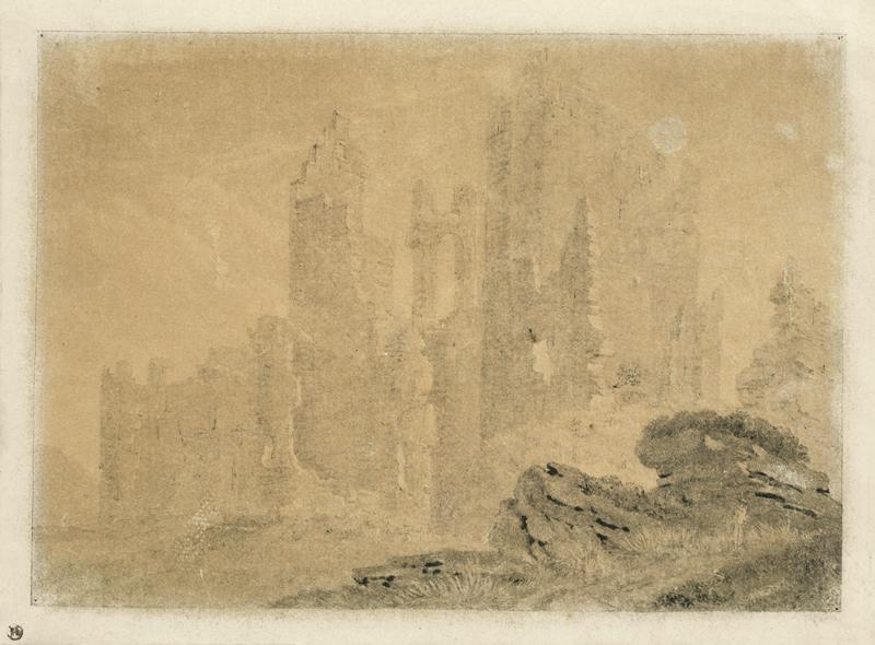 Lot 111 - Deutsch, um 1800 ()RUINE IM NEBEL. Pinsel in Schwarz und Grau auf Papier.  13x17,5cm ( 5?x