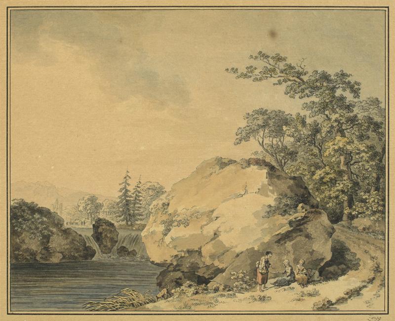 Lot 103 - Adrian Zingg (St. Gallen 1734 – 1816 Leipzig)FLUSSLANDSCHAFT MIT FELSBLOCK UND WASSERFALL. Um