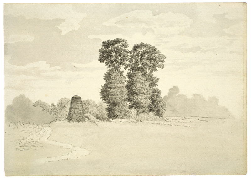 Lot 106 - Deutsch, um 1810 ()BAUMGRUPPE MIT OBELISK. Feder in Schwarz, laviert, auf Bütten.  13,1x18,3
