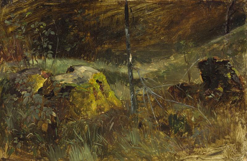 Lot 133 - Carl Roux (Heidelberg 1826 – 1894 Mannheim)WALDINNERES MIT BAUMSTUMPF. Öl auf Papier auf Pappe.