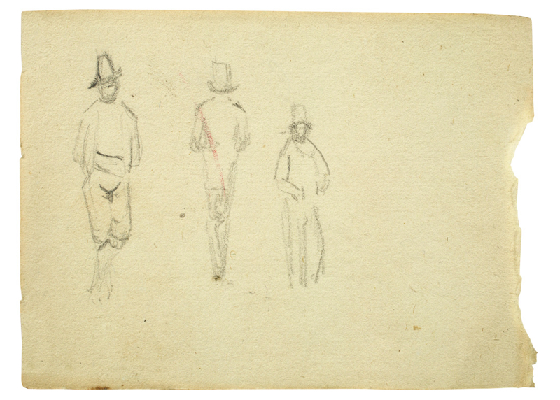 Lot 130 - Carl Blechen (Cottbus 1798 – 1840 Berlin)MÄNNER MIT HUT (AUS EINEM SKIZZENBUCH). Bleistift auf