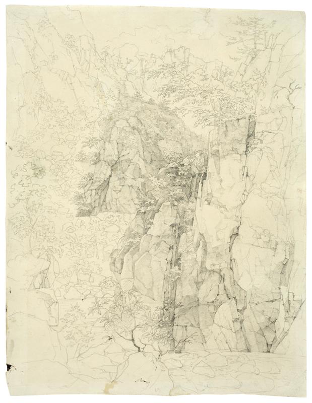 Lot 100 - Deutsch, um 1820 ()  FELSENSCHLUCHT.   Bleistift auf Papier.  27x20,7cm ( 10?x8?in.).