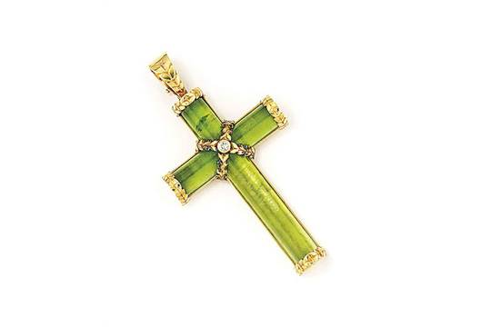 A peridot and diamond cross pendant by theo fennell the polished a peridot and diamond cross pendant by theo fennell the polished peridot cross wrapped with an 1 mozeypictures Gallery