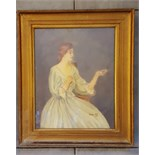 Painting Watercolour Seated Lady Signed Lillian Cuff 1958