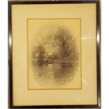 Sketch by Albert E Bailey 'Castle Abbey Pond Near Northampton' signed lower left