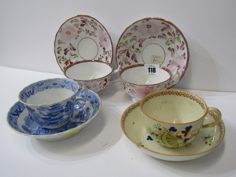 VICTORIAN TEAWARE, Newhall shell design teacup and saucer, pair of splash lustre tea cups and
