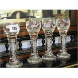 GLASSWARE, 4 cotton twist stem liquor glasses, 3 with hunting etched decoration