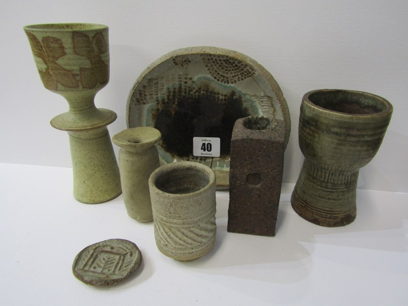 STUDIO POTTERY, Ian Godfrey collection of specimen vases, candle holder and other table ornaments