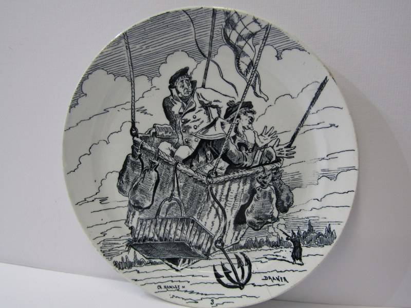 ANTIQUE FRENCH POTTERY PARIS SIEGE, set of 11 transfer printed dessert plates depicting scenes - Image 2 of 3