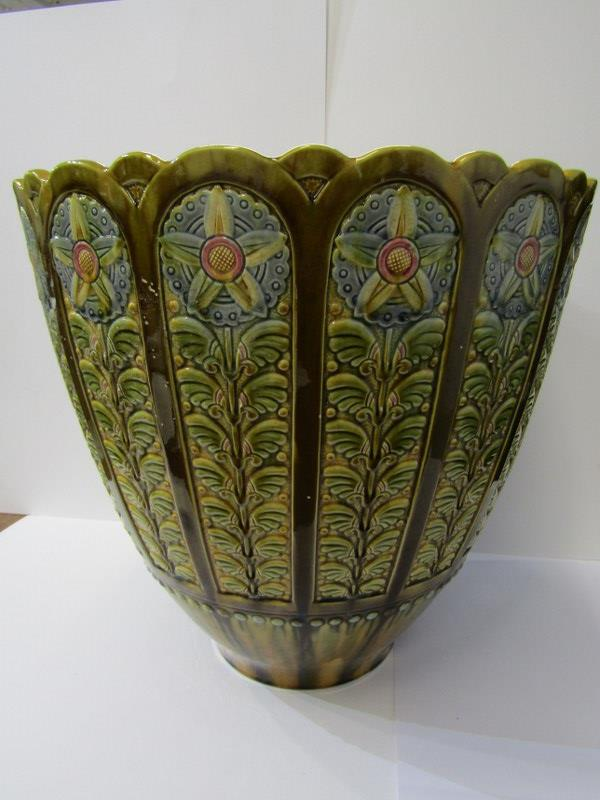"""LINTHORPE, floral design large jardiniere, 15"""" height, model no 1985"""