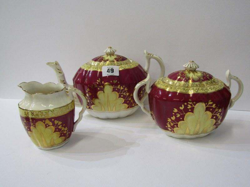 VICTORIAN TEA SERVICE, Mid 19th Century gilded claret bodied tea service including teapot, sucrier