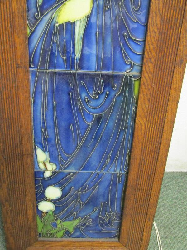 """ART NOUVEAU, a tiled picture panel """"portrait of young lady in blue dress"""" in style of Minton - Image 3 of 3"""
