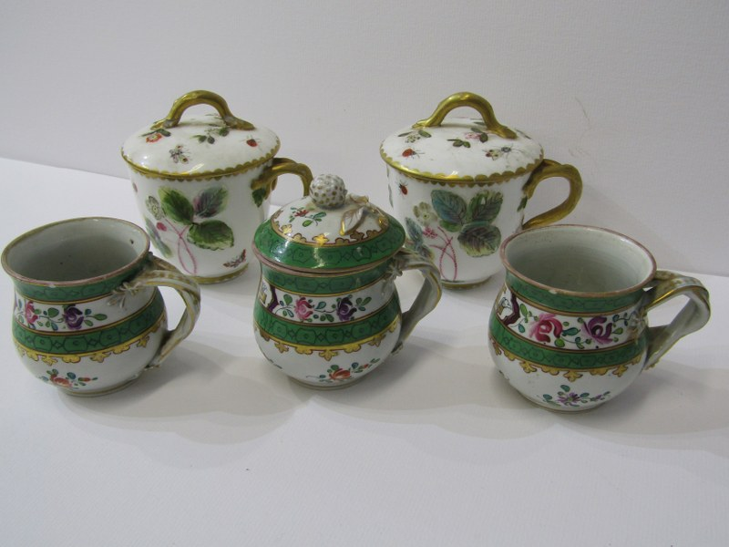 RED ANCHOR CHELSEA - TYPE, pair of lidded chocolate cups with insect and foliate design, also 3