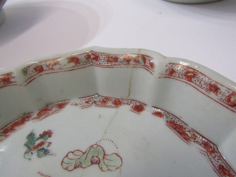 """ORIENTAL CERAMICS, CHINESE LOBED EDGE TEAPOT STAND a/f, also Famille Rose 5.5"""" bowl a/f and 2 - Image 4 of 4"""