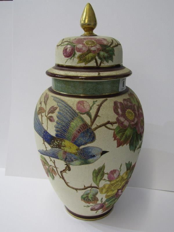 "ROYAL BONN, Bird & Butterfly decorated 16"" lidded vase, pattern no. 1983"