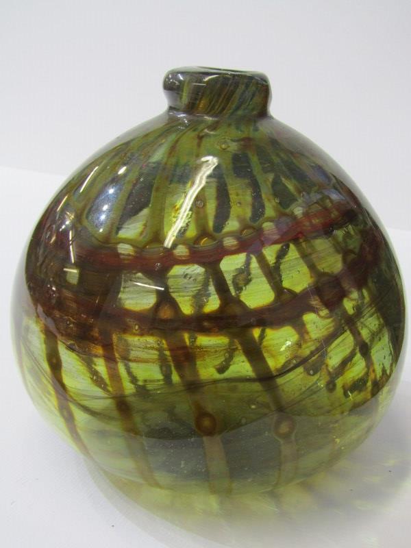 """ART GLASS, signed spherical glass specimen vase, dated 1967, 5.5"""" height"""