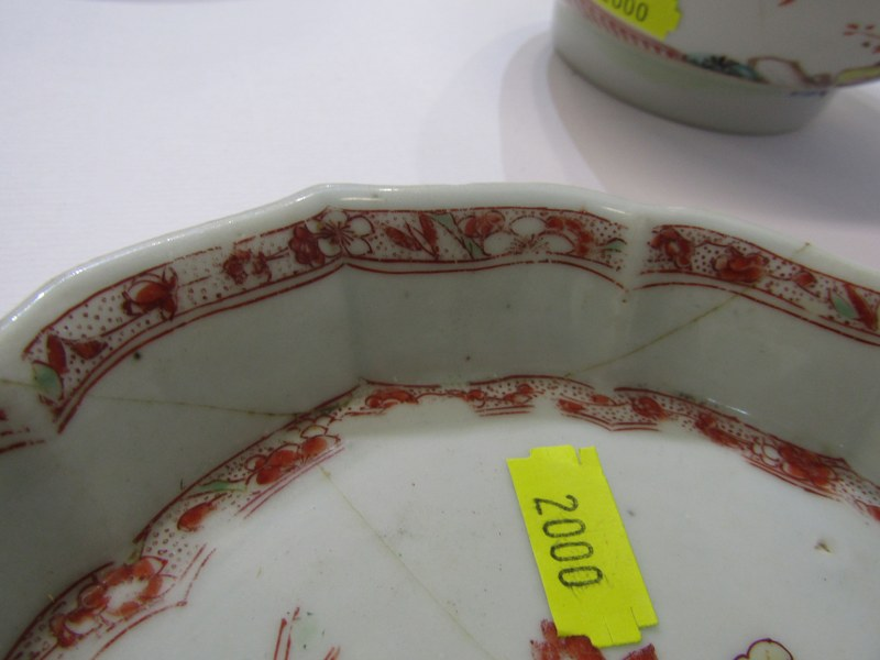 """ORIENTAL CERAMICS, CHINESE LOBED EDGE TEAPOT STAND a/f, also Famille Rose 5.5"""" bowl a/f and 2 - Image 3 of 4"""