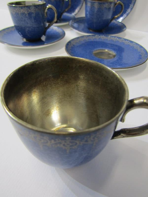 ROYAL WORCESTER, gilt powder blue ground coffee ware, 4 cups and 6 saucers with Viking ship mark - Image 3 of 4