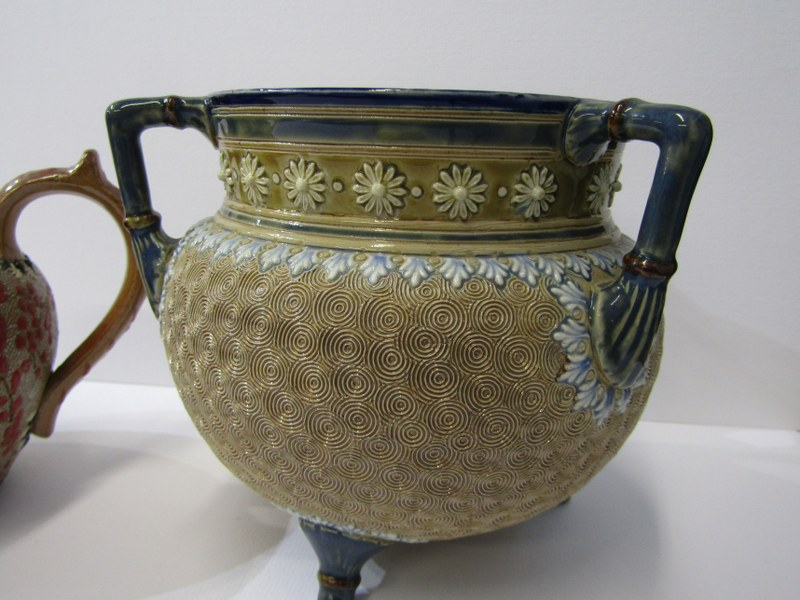 DOULTON STONEWARE, triple handled cauldron bowl with vortex design; together with Doulton & - Image 3 of 3