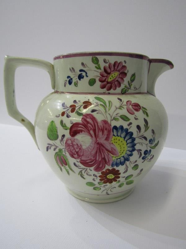 CORNISH MINING, 19th Century creamware jug decorated with engine house to one side and floral - Image 4 of 4