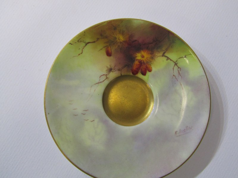 """ROYAL WORCESTER, STINTON, peach ground spherical posy painted with a Pheasent signed """"Jas Stinton"""" - Image 4 of 6"""