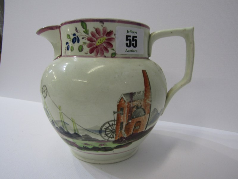 CORNISH MINING, 19th Century creamware jug decorated with engine house to one side and floral