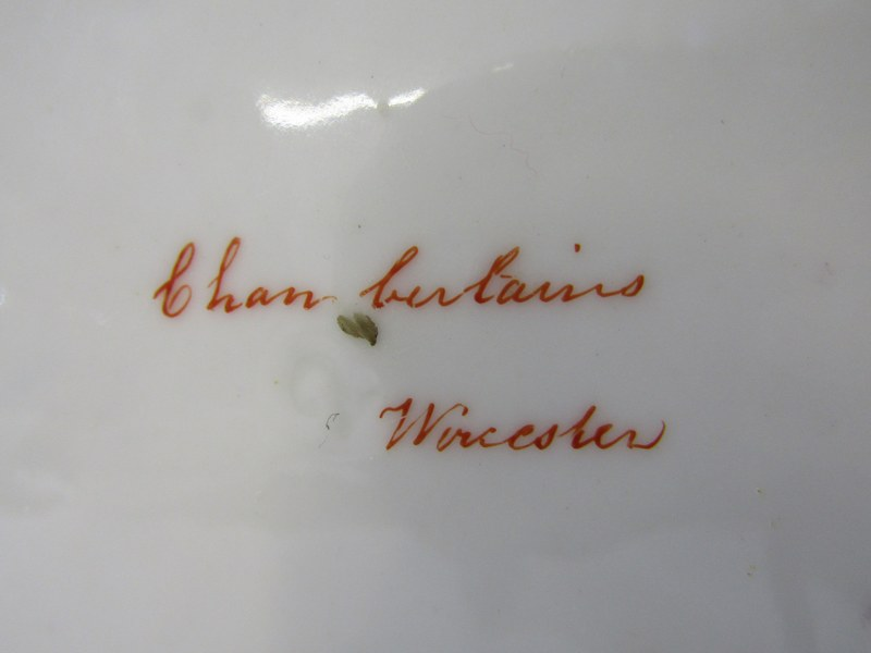 CHAMBERLAINS WORCESTER, gilt and cerise edged Heraldic dinner plate, decorated with Blackamoor - Image 3 of 5