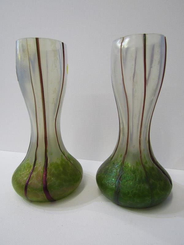 """ART NOUVEAU, pair of green lustre vaseline glass 6.75"""" vases"""