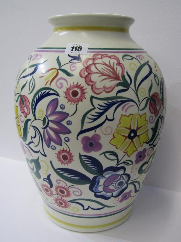 """POOLE, large floral decorated 13.5"""" vase signed K. Hickisson"""