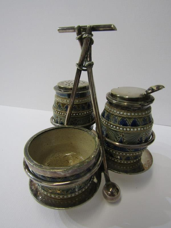 DOULTON LAMBETH, triple section condiment on plated stand, dated 1879