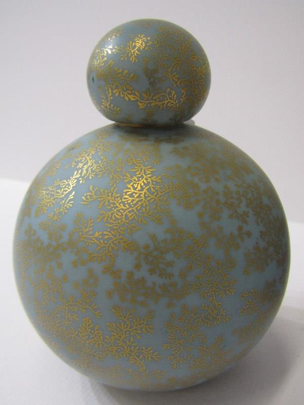 ROYAL WORCESTER, gilt blue ground spherical perfume flask; together with Hadley's Worcester rose - Image 2 of 3