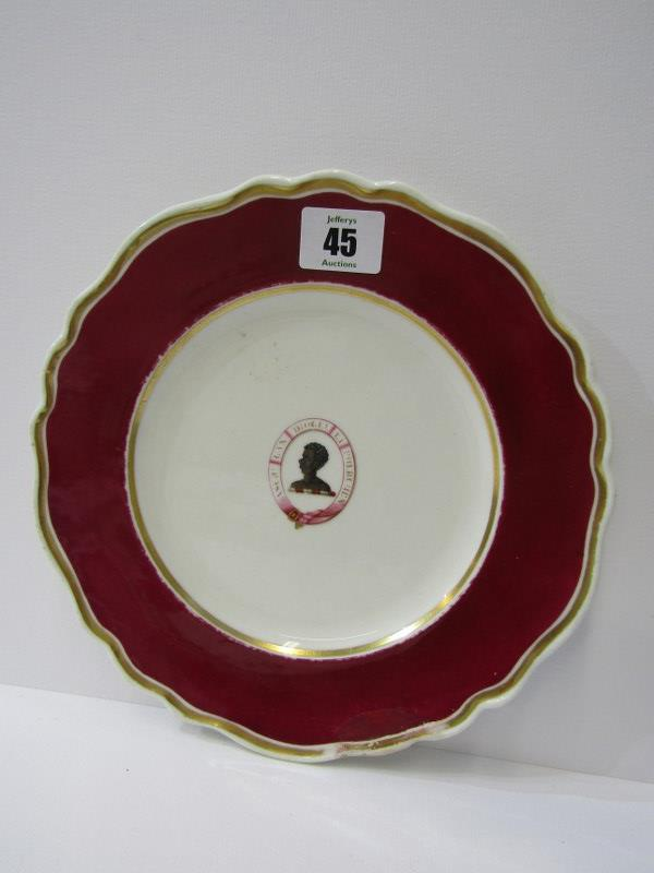 CHAMBERLAINS WORCESTER, gilt and cerise edged Heraldic dinner plate, decorated with Blackamoor