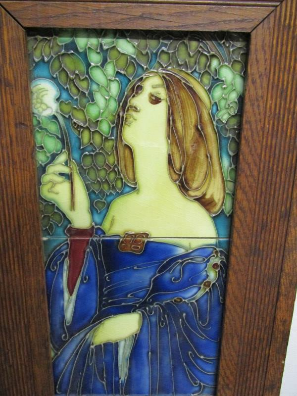 """ART NOUVEAU, a tiled picture panel """"portrait of young lady in blue dress"""" in style of Minton - Image 2 of 3"""