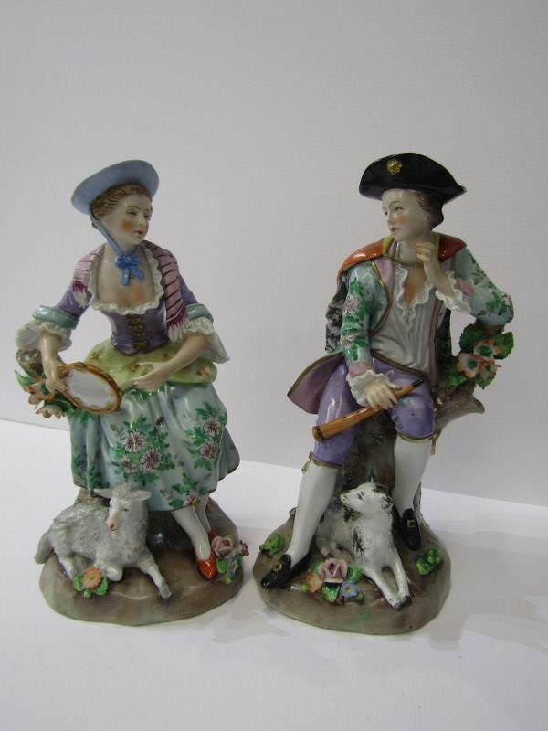 "SITZENDORF, pair of figures of Shepherd and Companion, 7.5"" height"
