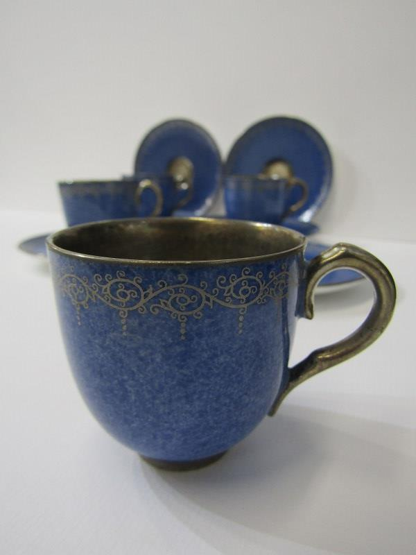ROYAL WORCESTER, gilt powder blue ground coffee ware, 4 cups and 6 saucers with Viking ship mark - Image 2 of 4