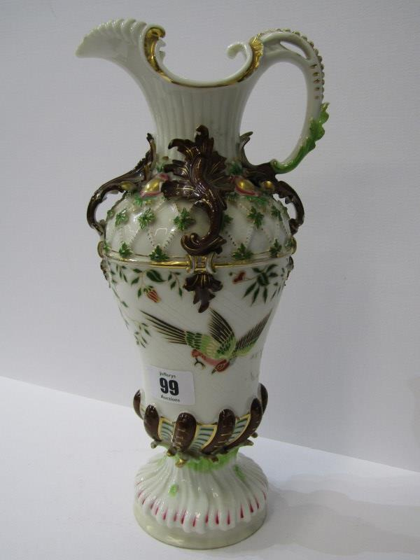 """CONTINENTAL PORCELAIN, an encrusted and gilded porcelain ewer jug, 12"""" height"""