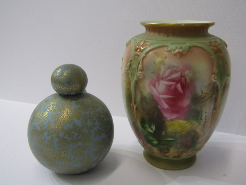 ROYAL WORCESTER, gilt blue ground spherical perfume flask; together with Hadley's Worcester rose
